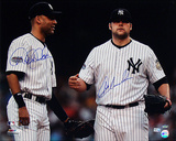 Joba Chamberlain And Derek Jeter Dual Autographed 2008 On Field Horizontal Photograph Photo