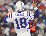 Peyton Manning Autographed White Jersey Throwing vs Bills Horizontal Photograph Photo