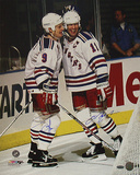 Adam Graves And Mark Messier Dual Autographed Celebration Behind The Goal Photograph Photographie