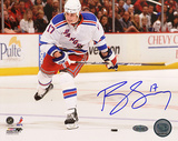 Brandon Dubinsky Autographed White Jersey Slap Shot Photograph Photo