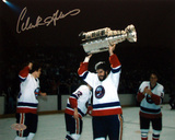 Clark Gillies Autographed Holding Cup Over Head Horizontal Photograph Photo