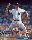 Phil Niekro Autographed Yankees Pinstripe Uniform Pitching Vertical Photograph Photo