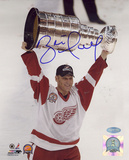 Brett Hull Autographed 2002 Stanley Cup Overhead Vertical Photograph Photo