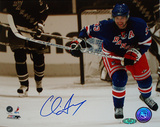 Chris Drury Autographed Skating Up Ice Sepia Tone Photograph Foto