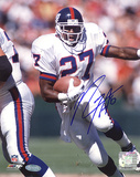 Rodney Hampton Autographed Giants Rushing White Jersey Photograph Fotografía