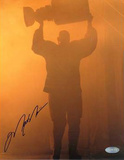 Mark Messier Autographed Oilers Retirement Night Entering Through Smoke Photograph Photo