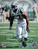 Bart Scott Autographed Arms at Sides Jets White Jersey Vertical Photograph Photo