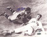 Yogi Berra Autographed vs. Ted Williams Slide B&amp;W Horizontal Photograph Photo