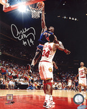 Anthony Mason Autographed Slam Dunk Over Hakeem Olajuwon Photograph Photo