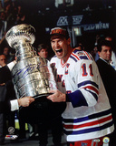 Mark Messier Autographed Stanley Cup On Side Photograph Photo