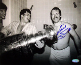 Billy Smith Autographed With Cup In Locker Room Black & White Photograph Photo