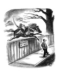 A dog on horseback is about to attack man walking along street. Sign on fe… - New Yorker Cartoon Premium Giclee Print by Frank Cotham