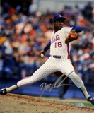 Doc Gooden Mets Pinstripe Jersey Pitching Vertical Photo Signed in Silver Fotografía