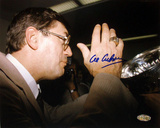 Al Arbour Autographed Drinking From Stanley Cup Photograph Photo