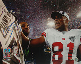 Amani Toomer Autographed SB XLII Celebration Photograph Photo