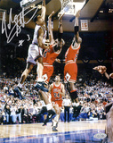 John Starks Autographed w/ Cartwright Dunk Vertical Photo Photographie