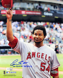 "Ervin Santana Autographed ""No Hitter, 7/27/11"" Angels Road Jersey Salute To The Crowd Vertical Phot Photo"