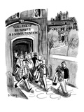 Students leaving campus of the College of Business Administration are all … - New Yorker Cartoon Premium Giclee Print by Barney Tobey