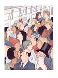 Subway riders all resemble Eustace Tilley - New Yorker Cartoon Premium Giclee Print by R. Sikoryak