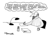 Procrastinating writer writing on paper about his writing implements and h… - New Yorker Cartoon Premium Giclee Print by Charles Barsotti