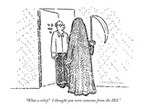 """What a relief!  I thought you were someone from the IRS."" - New Yorker Cartoon Premium Giclee Print by Robert Mankoff"