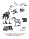 """Sorry—He's changed His mind again.  Stripes on the zebra, spots on the gi… Premium Giclee Print by J.B. Handelsman"