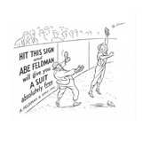 Near the homerun wall, a store owner positions himself in front of his own… - New Yorker Cartoon Premium Giclee Print by George Price