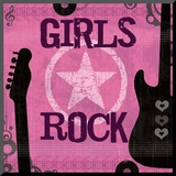 Girls Rock Mounted Print by Louise Carey