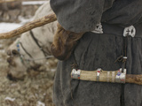 A Komi Reindeer Herder's Knife Scabbard on His Decorated Belt Photographic Print by Gordon Wiltsie
