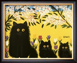 Three Black Cats Prints by Maud Lewis
