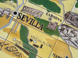 Detail of Ceramic Tiles Featuring an Illustrated Map of Andalusia Fotografiskt tryck av Krista Rossow