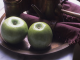 Green Apples on a Plate Alongside a Teapot and Maroon Napkins Photographic Print by Paul Daimien