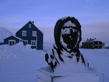 A Snow-Covered Bust of Roald Amundsen Covered in Snow Lámina fotográfica por Norbert Rosing