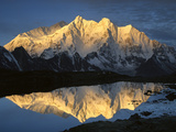 Mt Makalu (8,462m) and Mt Chomolonzo (7,540m) Reflected in Small Lake, Khama Valley, Tibet Photographic Print by Colin Monteath/Minden Pictures