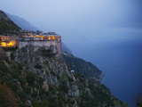 The Simonos Petras Monastery 800 Feet Above the Aegean Sea Photographic Print by Travis Dove