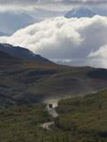 Tour Bus on Denali Road, Mount Mckinley, Denali National Park , Alaska Photographic Print by Michael S. Quinton