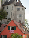Castle in Town of Meersburg with Orange Home in Foreground Photographic Print by  Greg