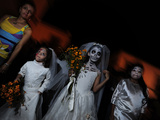 Children Dressed Up for the 'Comparsa' or Day of the Dead Procession Photographic Print by Raul Touzon