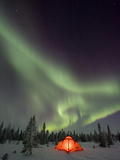 Northern Lights or Aurora Borealis over Illuminated Tent, Boreal Forest, North America Photographic Print by Matthias Breiter/Minden Pictures
