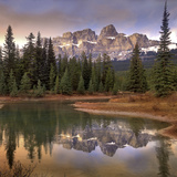Castle Mountain and Boreal Forest Reflected in Lake, Banff National Park, Alberta Photographic Print by Tim Fitzharris/Minden Pictures