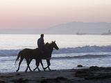 Horseback Rider with Horses on Rincon Beach Park Photographic Print by Rich Reid