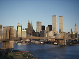 Part of the Brooklyn Bridge Leading to the World Trade Center and the Lower Manhattan Skyline Photographic Print by Robert Madden