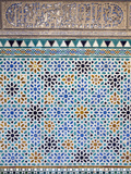 Detail of Tiles and Plaster Carving at Alcazar Royal Palaces, Seville Fotografiskt tryck av Krista Rossow