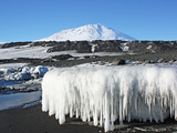 Sea Ice Foot with Some 5 Foot Icicles. Mount Erebus in the Distance Photographic Print by Steve And Donna O'Meara