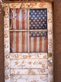 Door Decorated with Handprints and United States Flag Curtain Photographic Print by Charles Kogod