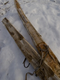 A Handmade Pair Skis with Reindeer Skins on the Bottom Photographic Print by Gordon Wiltsie