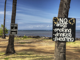 An Empty Beach Parking Lot on the Island of Molokai Photographic Print by Pete Ryan