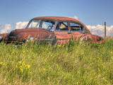 A 1950 Chevrolet Styleline Deluxe 4-Door Sedan Sits Idle in a Field Fotografiskt tryck av Pete Ryan