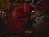 A Monk Resting During Day 2 of the Karsha Gustor Festival Photographic Print by Steve Winter