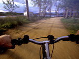 Point of View Photograph of a Road over the Handlebars of a Bike Photographic Print by Tino Soriano